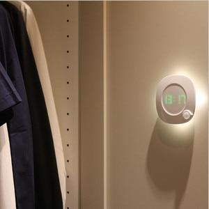 Image 5 - Motion Sensor Night Light With Clock Battery Power PIR Sensor Two Lighting Color Adjustable Brightness Magnet Night Lamp