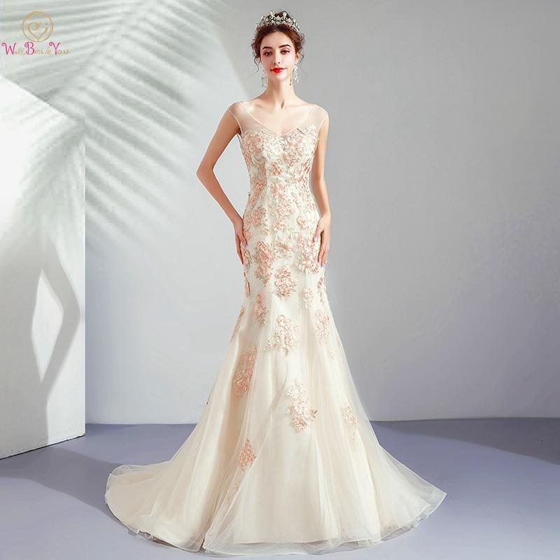 Elegant Wedding Dresses 2019 Colorful Champagne Lace