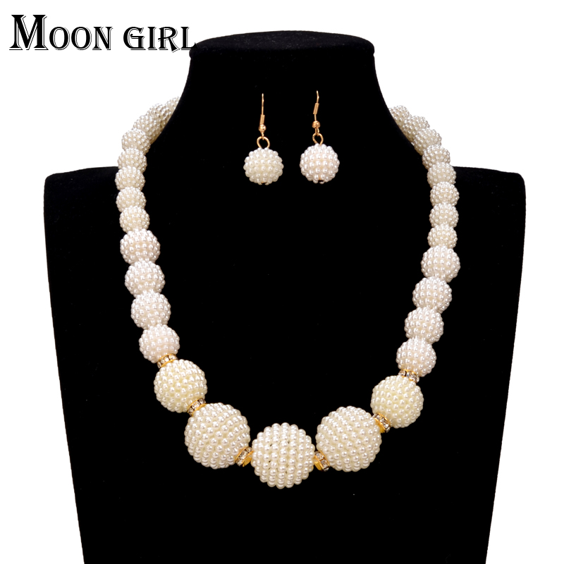 2017 Fashion Simple Statement Pearl Choker Necklace Earrings Set For Women Nigerian Wedding African Beads Jewelry In Sets From