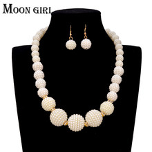2016 fashion simple statement pearl choker necklace earrings set for women Pearl Nigerian Wedding African Beads Jewelry Set(China)