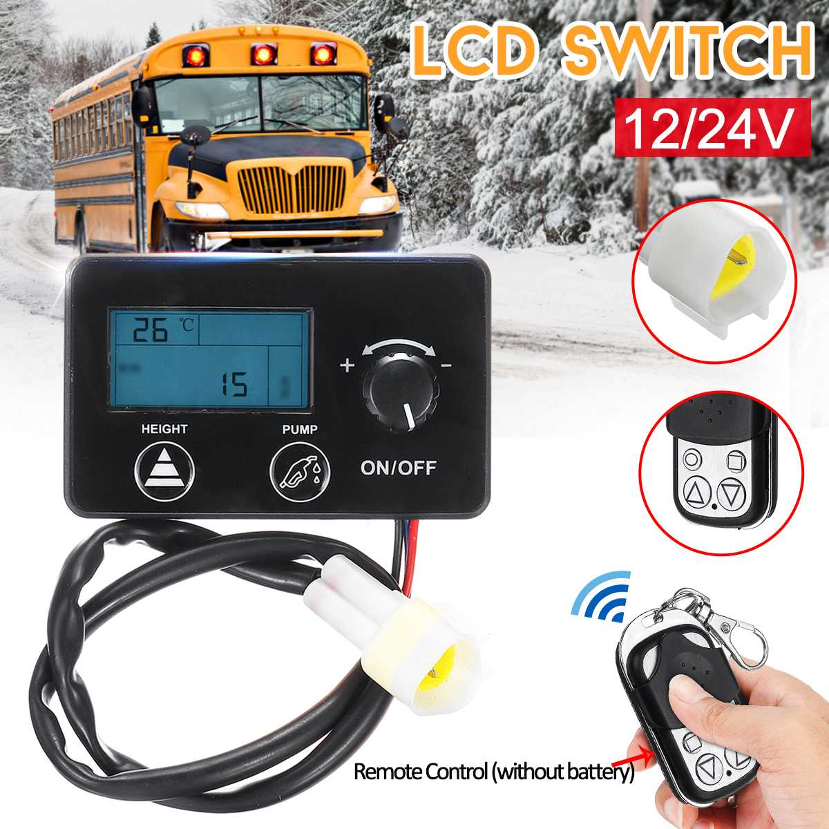 LCD Diesel Heater Controller Remote Control + LCD Monitor Switch Replacement Parts For Car Air Diesel Parking Heater 12V/24V