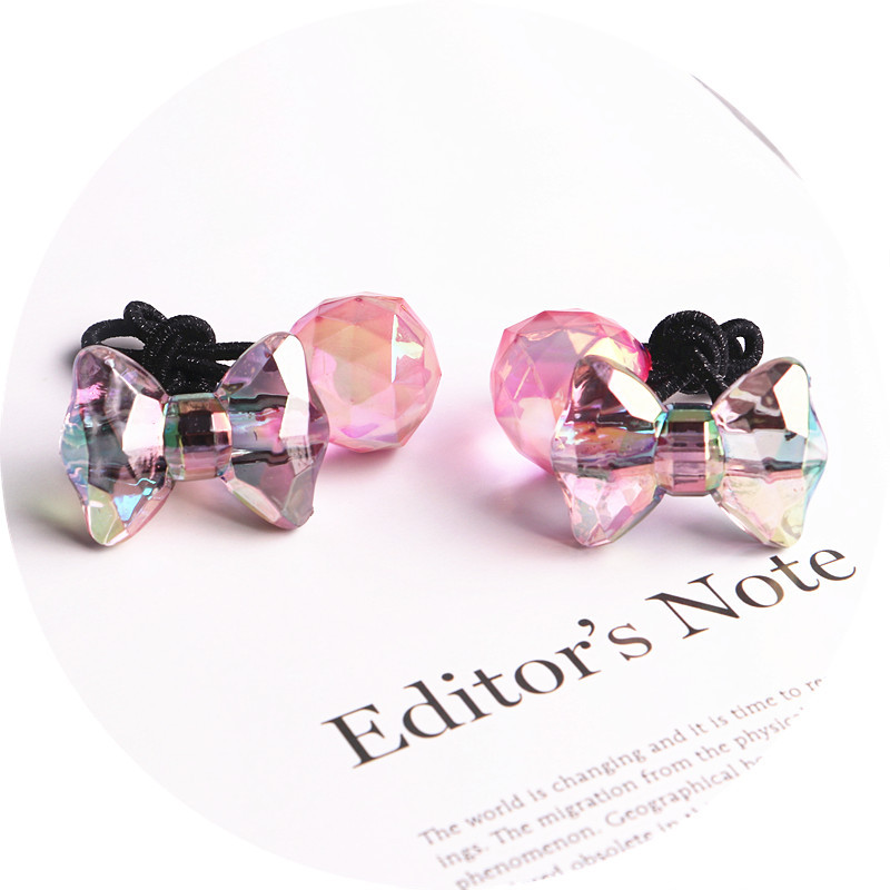 Image 3 - 2018 New 20pcs/lot Children Hair Accessaries acrylic bowknot Blasting beads Balls Hair Bands Elastic Ropes Ties Ponytail HolderHair Accessories   -