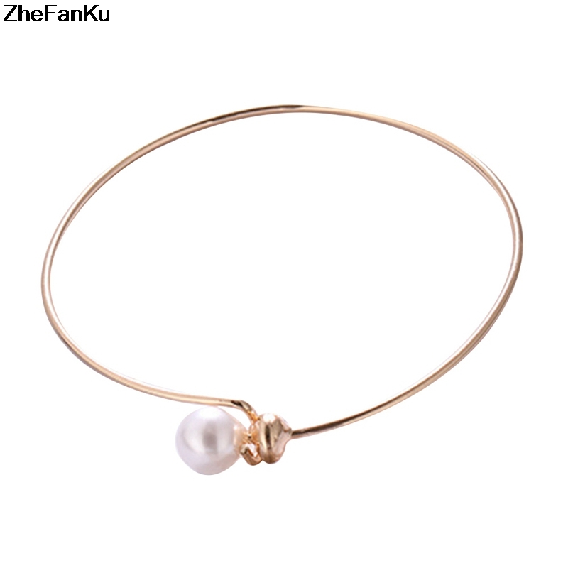 Wedding Jewelry  Open Cuff Bracelets Simple Simulated Pearl Ball Beads Adjustable Bangles Women