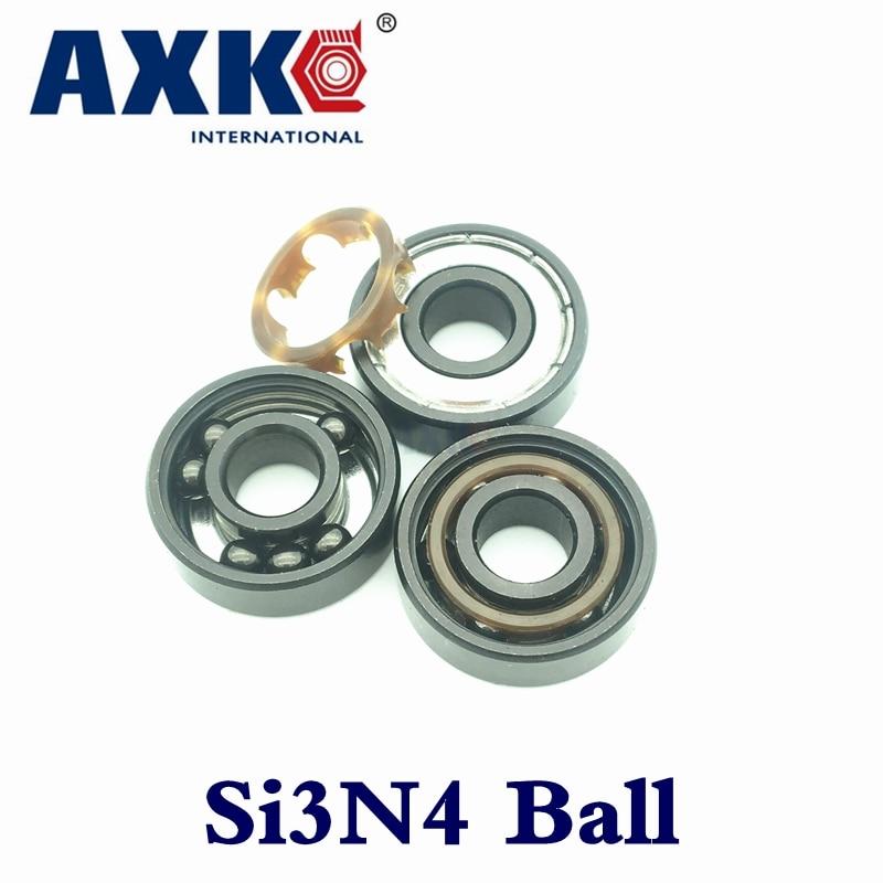 AXK 608 608z swiss BSB ABEC-11 Black 6 Beads Si3N4 Balls Hybrid Ceramic for skateboard  Hand Spinner Skate Roller 8*22*7mm