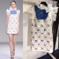 Vestidos Verano 2018 женская летняя обувь платье Уникальный Блестки свободного покроя роковой вышитый цветок кружевное платье Элегантное праздничн
