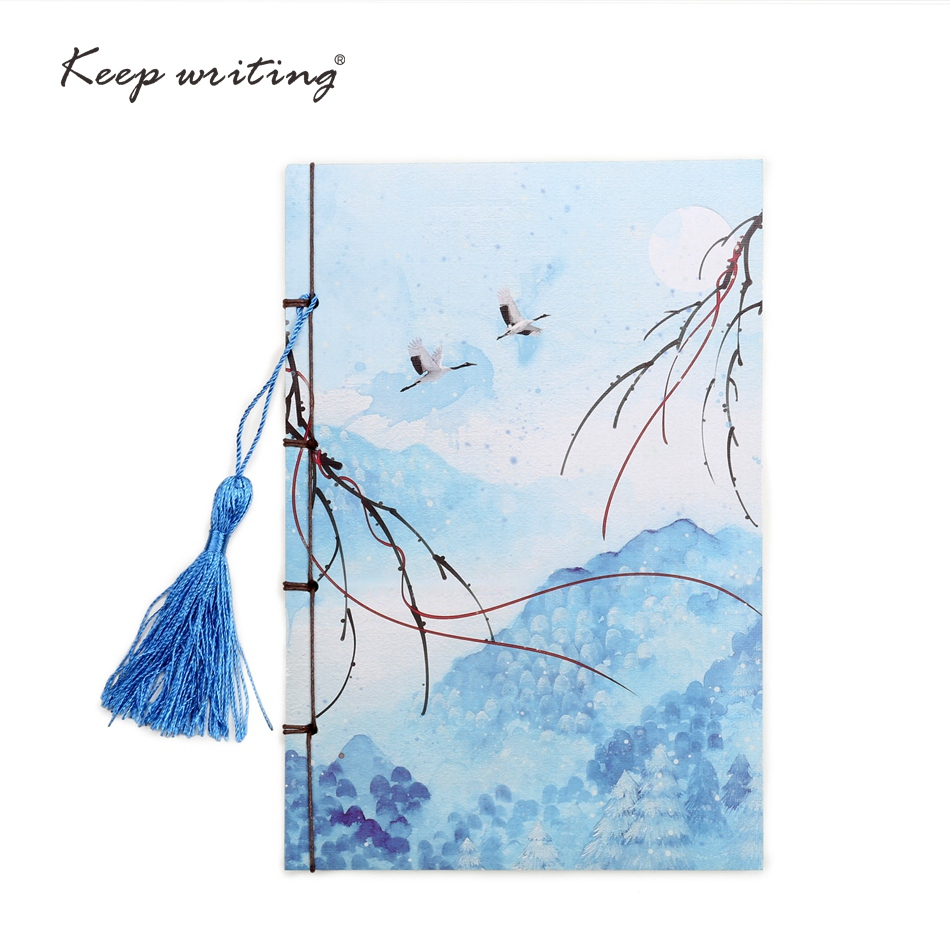 A5 Chinese style Color painting page Vintage Notebook with tassel Cute Retro book china  70 sheets paper Exquisite stationery social spirits page 5