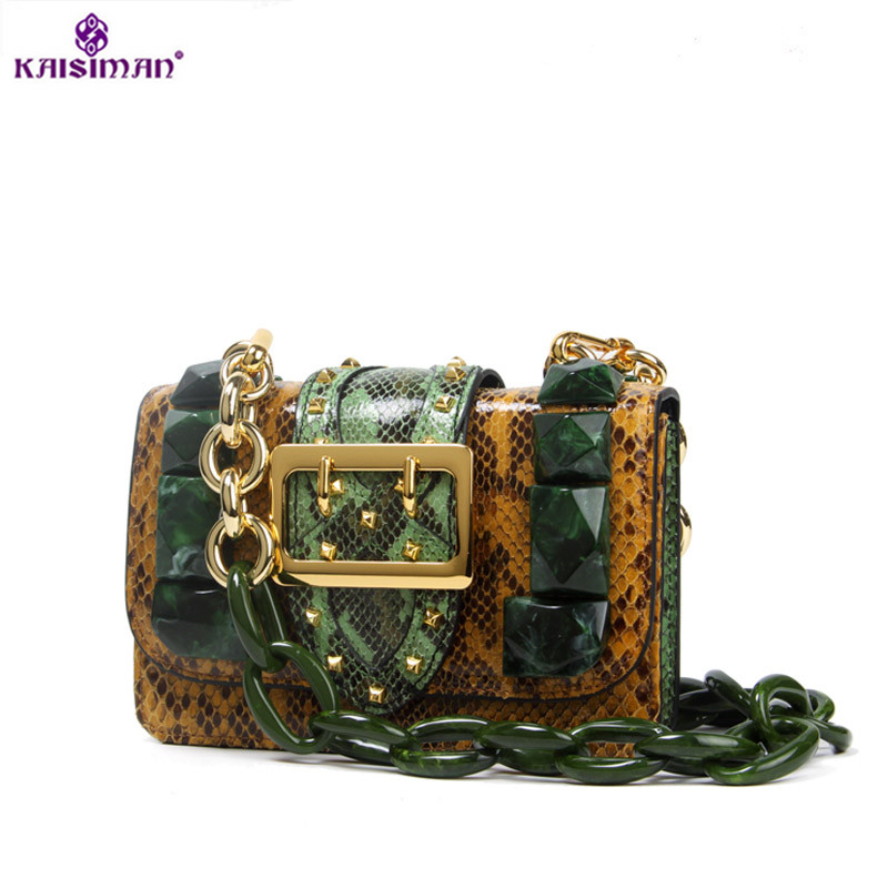 Luxury Fashion Snake Leather Handbag Chain Emerald Retro Bags for Women Genuine Leather Lady Shoulder Bag Sac Portefeuille Femme new split leather snake skin pattern women trunker handbag high chic lady fashion modern shoulder bags madam seeks boutiquem2057
