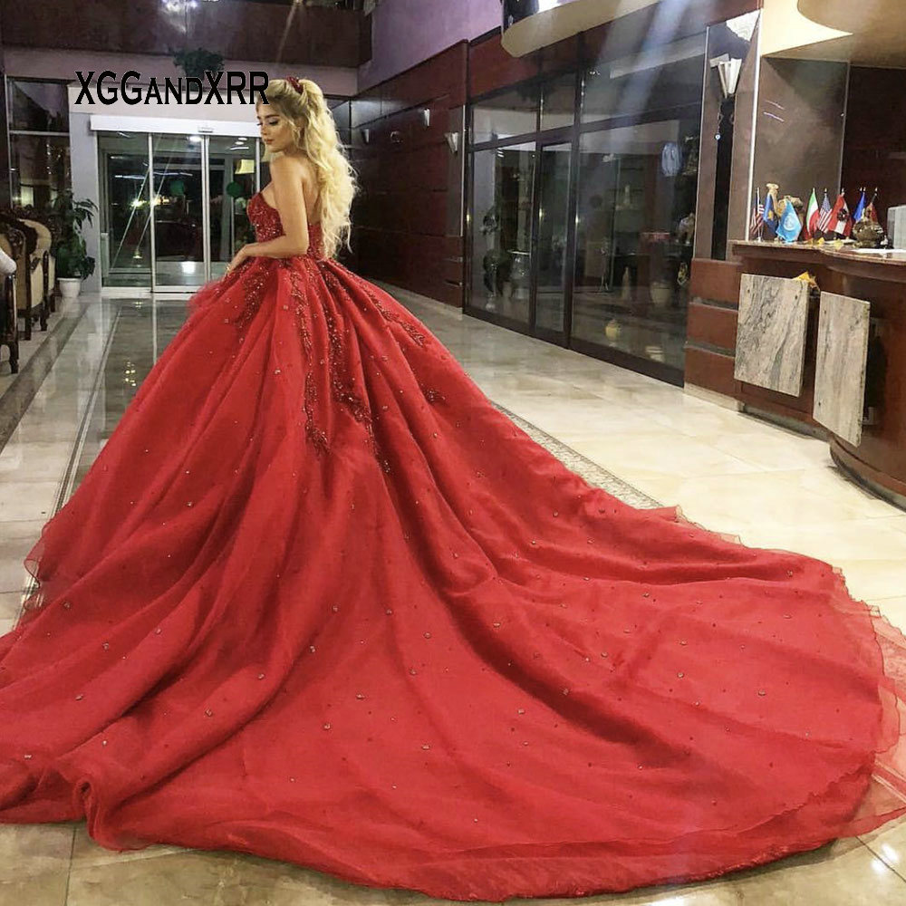 Luxury Ball Gown Prom Dress 2019 Sweetheart Heavy Beading Crystal Sequins Red Long Evening Dresses Royal Train Plus Size-in Prom Dresses from Weddings & Events