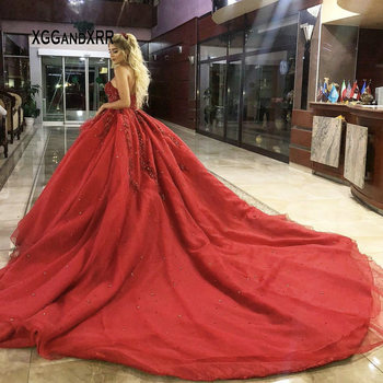 89afd398 Vestido de baile de lujo vestido de graduación 2019 Sweetheart Heavy  Beading Crystal lentejuelas rojo largo vestidos de noche Royal Train Plus  Size