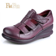 Купить с кэшбэком PEIPAH Retro Women Genuine Leather Sandals Women Summer Wedges Shoes Casual Summer Sandals Platform Shoes Women Creepers