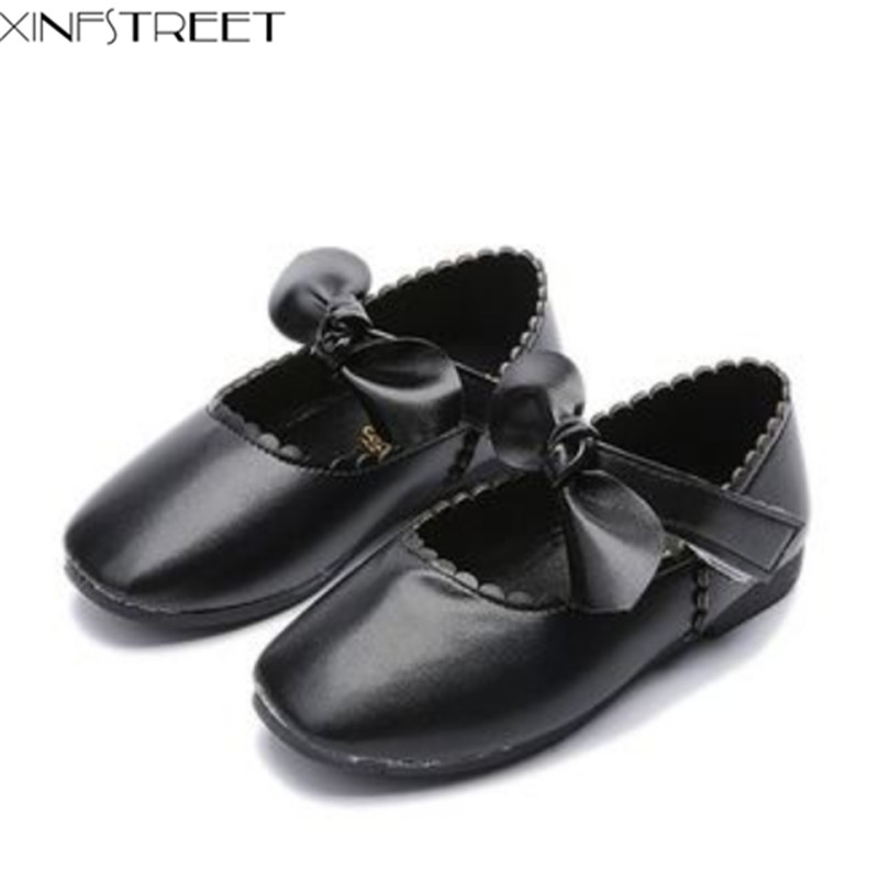 Fashion Girls Kids Shoes Leather Cute Bow Solid Girls Shoes Dress Children Flats Size 21-36 Black White Red