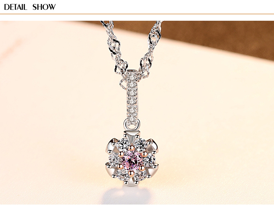 New S925 sterling silver pendant water wave chain set 3A zircon fashion exquisite ladies necklace gift