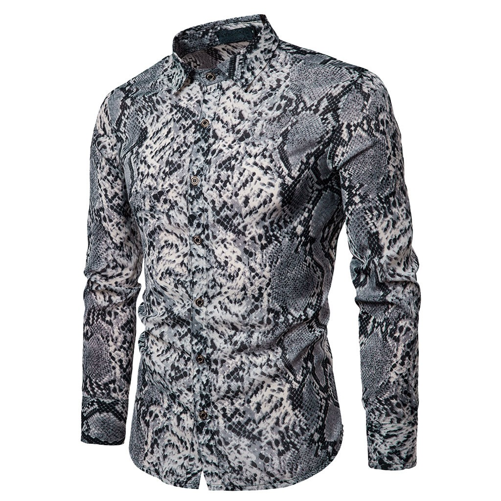 Spring Simple Casual Slim Fit Shirts Men Long Sleeve Snake Printed Button Top Blouse Elegant Males Fashion Shirt Blouse /PT la palmyre zoo