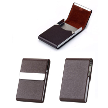 Weduoduo New Women Men Business ID Credit Card Holder Fashion Brand Metal Aluminum Case PU Leather Name