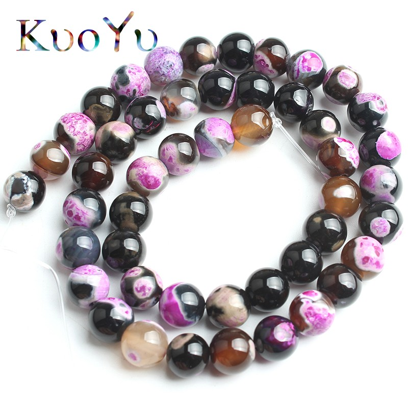 Natural Jewelry Rose Stripe Agate Onyx Gem Stone Loose Spacer Beads 4//6//8//10mm