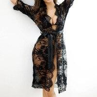 Summer 2017 Sexy Women Nightgowns Sleepshirts Three Quarter O Neck Nightgowns Full Lace See Through Sleepwear