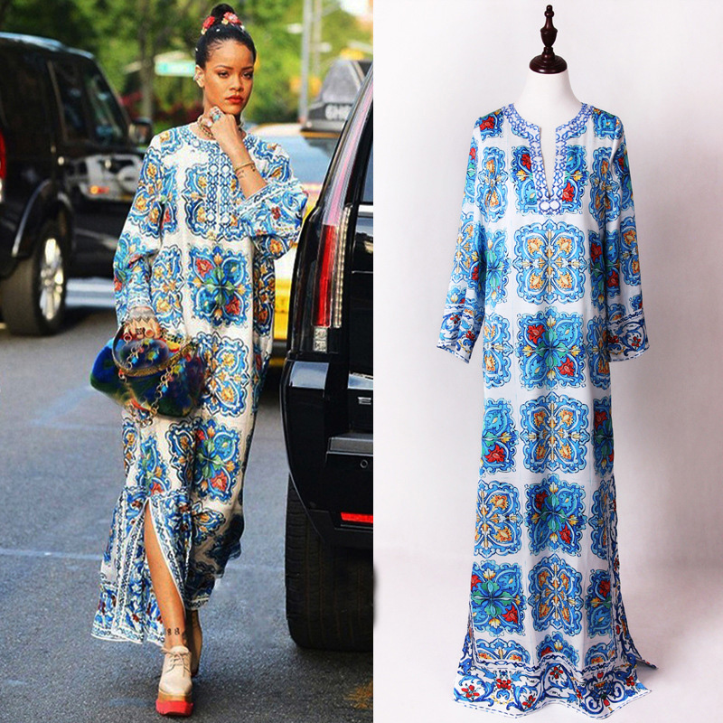 Newest high quality 2017 summer women s runway Maxi dress long sleeve Beading fashion print Loose
