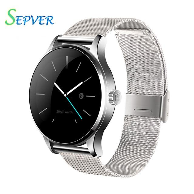 2016 nueva k88h smart watch con 1.22 pulgadas ips ronda Soporte de pantalla Anti lost-Monitor de Ritmo Cardíaco Reloj Bluetooth Para IOS Android