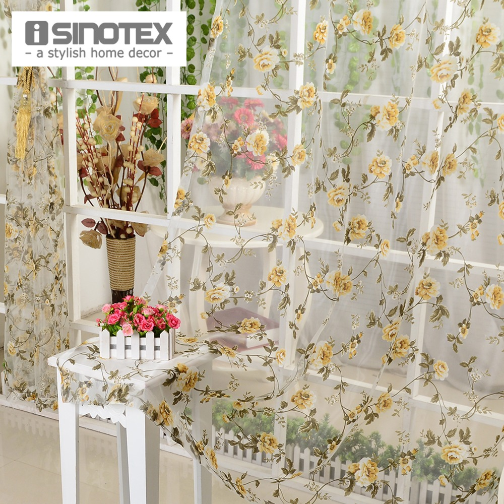 iSINOTEX Window Curtain Yellow Floral Transparent Burnout Sheer Tulle Voile Fabric Living Room Screening 1PCS/Lot