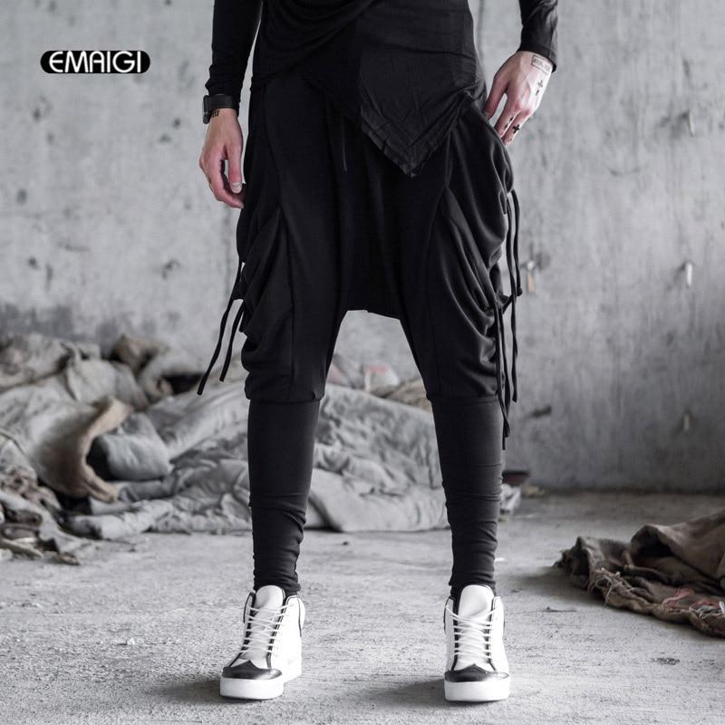 Men Elastic Stretch Loose Casual Harem Pants Punk Gothic Hip Hop Style Male Fashion Boot Trousers Jogger Sweatpant