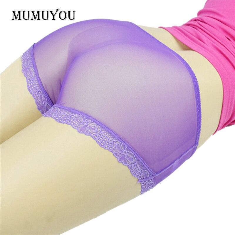 3Pcs Womens Plus Size Sheer Briefs Underpants Sexy Transparent Lace Panties Mid-Rise Chinlon Mesh Multi Colors 204-664