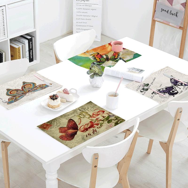 Vintage Style Table Napkin 42*32cm Butterfly Art Letter Print Linen Family Restaurant Coffee Shop Decoration Fashion Placemat