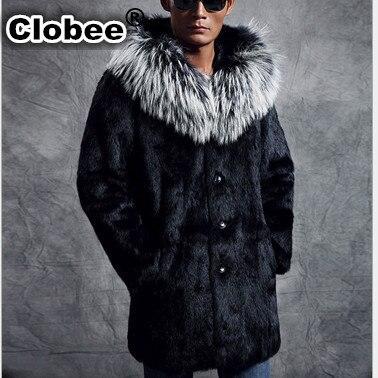 Big Fur Collar Hooded Casual Long Black Men's Winter Thick Warm Mink Overcoat Casaco De Pele Falso Elegant Faux Fur Coat V552