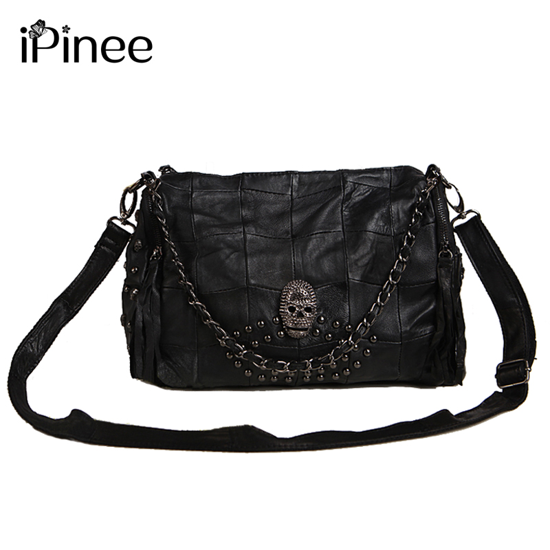 iPinee Ladies Genuine Leather Women Handbags Designer Tassel Female Handbag Rivet Bag Woman Crossbody Bag