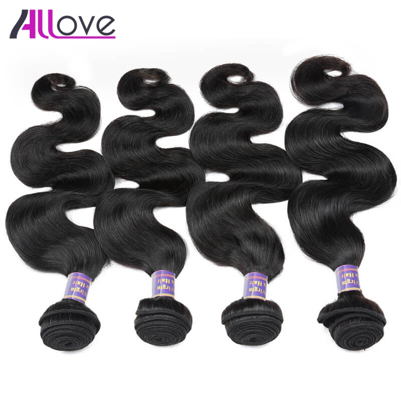 Allove индийские волосы 4bundles Средства ухода за кожей волна Человеческие волосы ткань 100% натуральный Волосы Remy расширения 8-28 дюймов