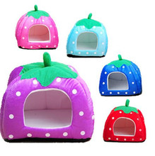 Super Hot New Practical Soft Strawberry Lovely Pet Dog Cat Bed House Kennel Doggy Warm Cushion Basket S/M/L