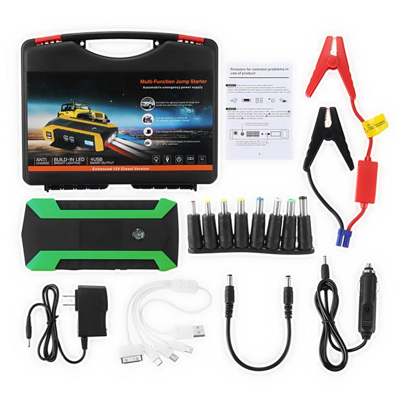 4 USB LED Car Jump Starter 89800mAh Emergency Auto Power Bank Portable Car Battery Booster Charger Petrol Diesels Car Starter ootdty 69900mah 89800mah 4 usb portable car jump starter pack booster charger battery power bank 600a