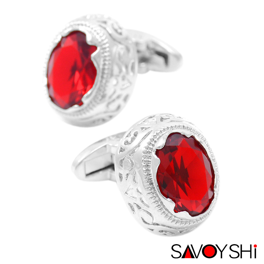 SAVOYSHI Luxury Red Zirconia Cufflinks For Mens High Quality Silver Color Pattern Hollow Cuff Link Gift Brand Men Jewelry Design
