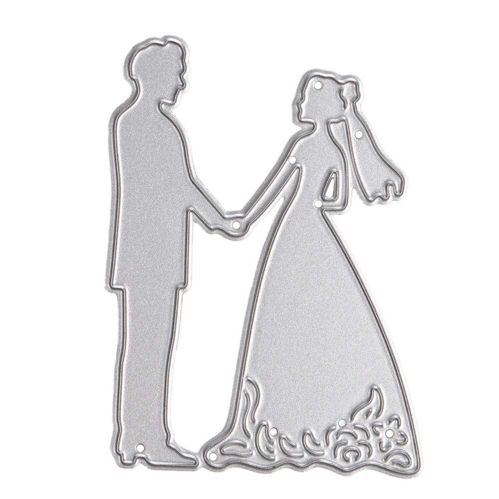 1pc Bride Groom Wedding Couple Metal Cutting Dies Stencils DIY Scrapbooking Album Decorative Embossing Folder Suit Drop Shipping