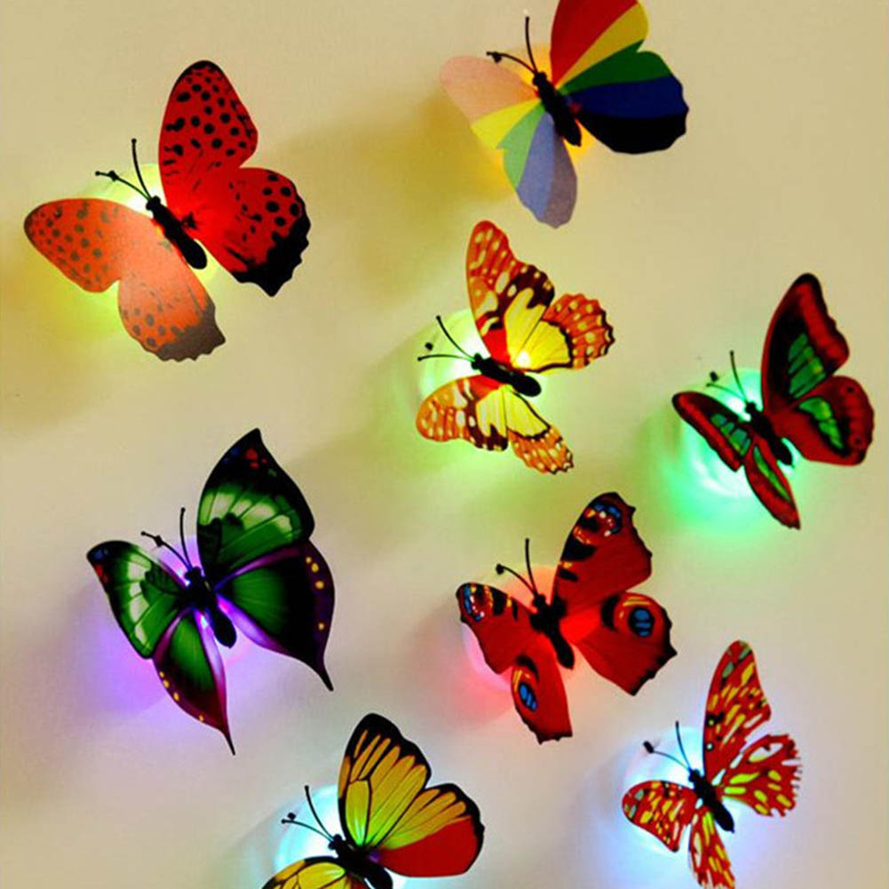 10Pcs/pack Wall Night Lights Decoration Mix Color Butterfly Wall Stickers Night Light Flashing Colorful LED Lamp Home Decor