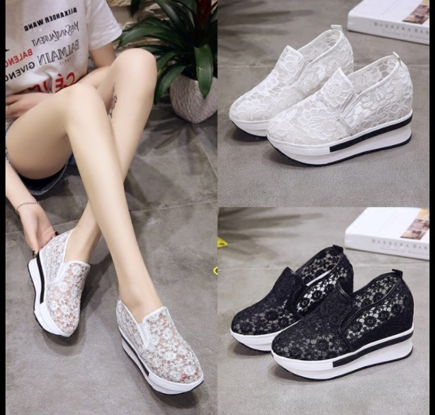 2019 Wedges Canvas Shoes For Woman Platform Vulcanized Air Mesh Shoes Hollow Lace-Up Hidden Heel Height Increasing shoes Casual 1