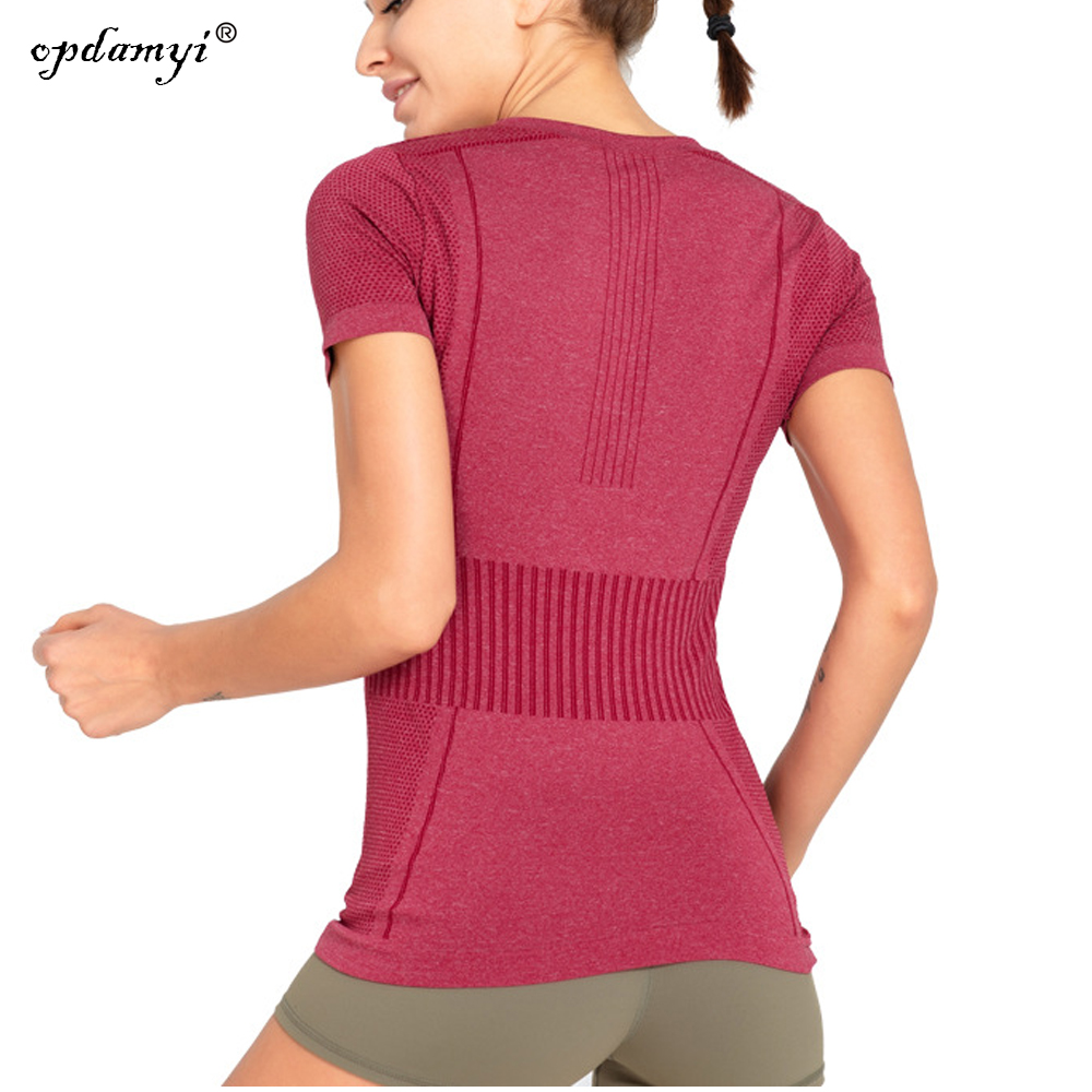 Womens Sports Gym Top New Short Sleeve V Neck Fitness Running Shirt With Stretch
