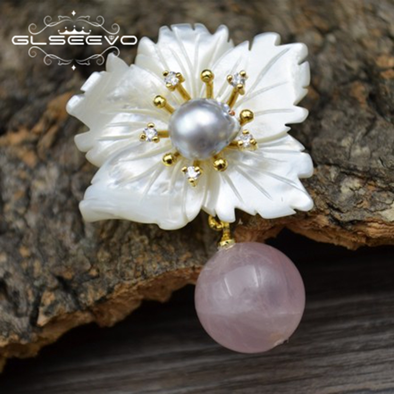 GLSEEVO Natural Mother Of Pearl Flower Brooch Pins Pink Crystal Brooches For Women Dual Use Designer Luxury Fine Jewelry GO0268 luxury star crystal rhinestone lapel pins and brooches for women large mother of pearl suit broches bridal wedding jewelry x012