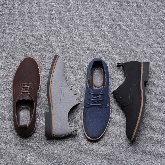 2019 High Quality Suede Leather Soft Shoes Men Loafers Oxfords Casual Male Formal Shoes Spring Lace-Up Style Men's Shoes 27
