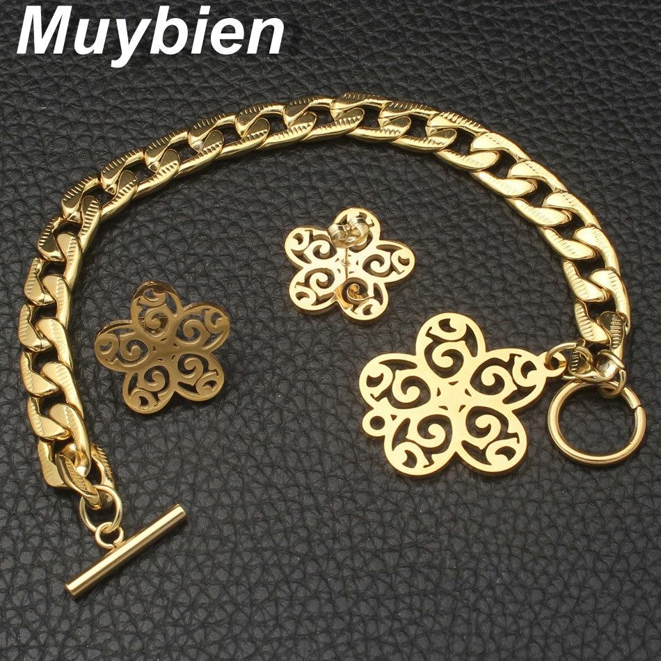 Nuevo diseño Acero inoxidable dorado Pulsera y collar Pendientes - Bisutería - foto 3