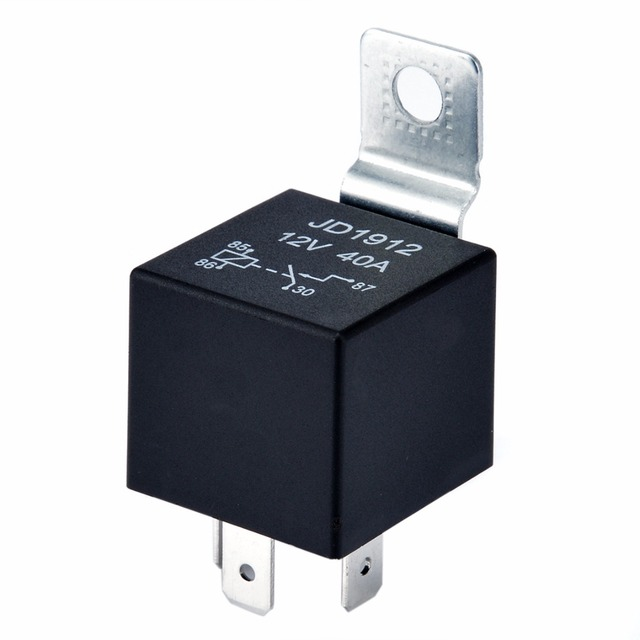 1pc DC 12V 40A Black Relay 4 PIN Durable Automotive Car Truck Boat Relays Normally Open Contact Relay 27.5*28*25mm Mayitr