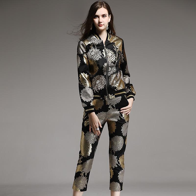 Luxurious Beading  Jacket Coat+Calf-Length Pants 3