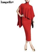 Jampelle Elegant Lady Red Skirt Suits Women Turtleneck 2 Pieces Cloak Tops Package Hip Skirt Suit