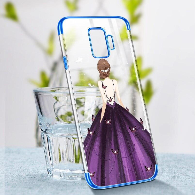 dad535cd165 ASINA transparente funda para Samsung Galaxy S8 caso de lujo claro Chapado  en caso de parachoques para Samsung S8 S9 Plus Fundas para las niñas