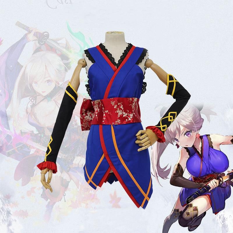 Anime Fate/Grand Order Servant Saber Miyamoto Musashi Cosplay Costume Japanese Women Kimomo Uniforms Suits