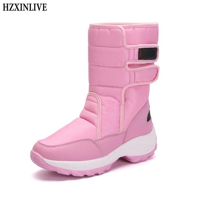 HZXINLIVE الشتاء منتصف العجل النساء الأحذية الأزياء الدافئة السيدات عارضة الثلوج الأحذية للماء عدم الانزلاق أفخم تحولت على مكبل أحذية