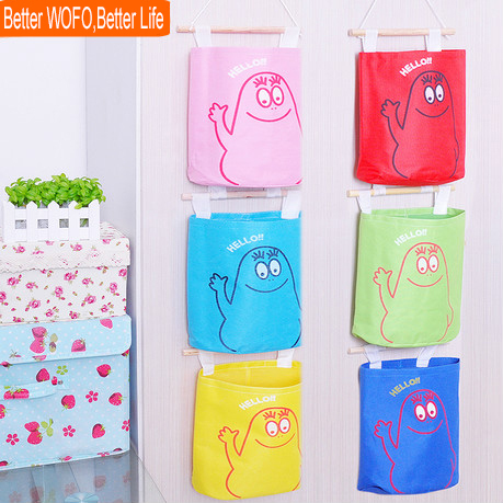 Fashion Oxford Fabric Hanging Storage Bags Colorful Large Belt Stick  Multi Layer Storage Basket On