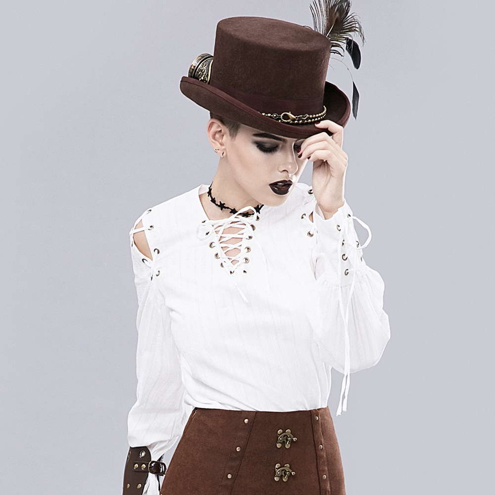 Steampunk rétro bandage blouse coton blanc manches longues chemise à lacets