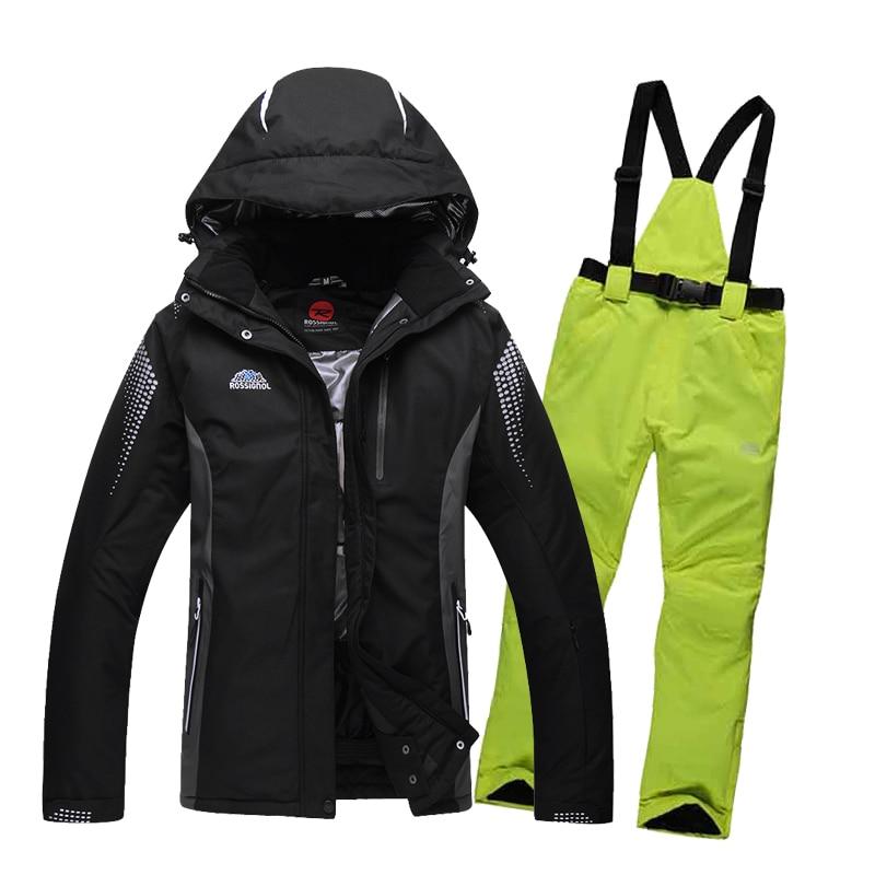 Prix pour Hiver ski veste Hommes et femmes couple modèles vêtements de ski manteau costume thermique snowboard vestes et pantalons femelle ski vêtements