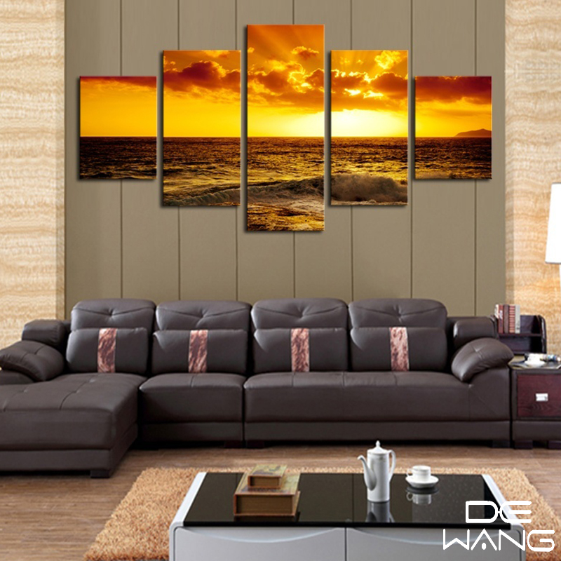 Frame boat Modular Picture Seascape Sunset 5 Pieces Canvas Art Prints Framework Painting Sea Oil Painting Wall Art Pictures