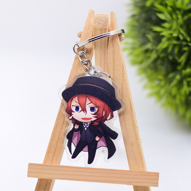 2019 Bungo Stray Dogs Keychain Double Sided Key Chain Acrylic Pendant Anime Accessories Cartoon Key Ring 3